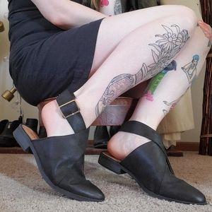 Black Buckled Slingback Loafers